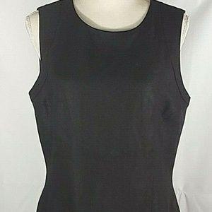 Talbots Irish Linen Sleeveless Dress Black Zip 12